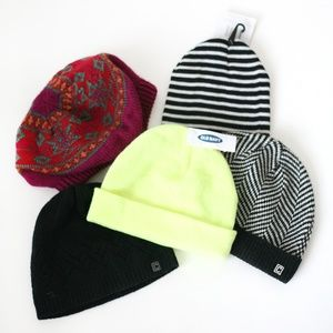 Bundle of 5 stocking hats knit colorful